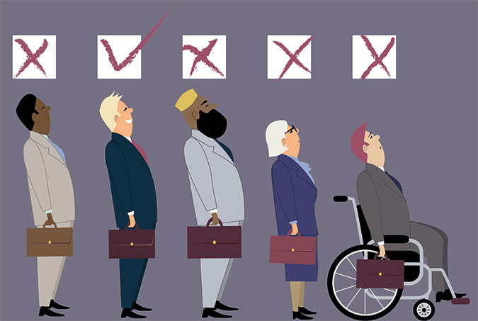 Illustration: Fem personer med olika utseende men med var sin portfölj står på rad. Ovaför deras huvuden finns rutor där bara den vita mannen utan funktionsnedsättning får en markering för godkänt.