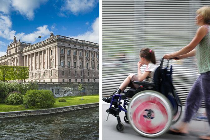 Montage: En bild av riksdagshuset och en av ett barn i rullstol som körs av en vuxen kvinna med ytterligare ett barn bredvid.