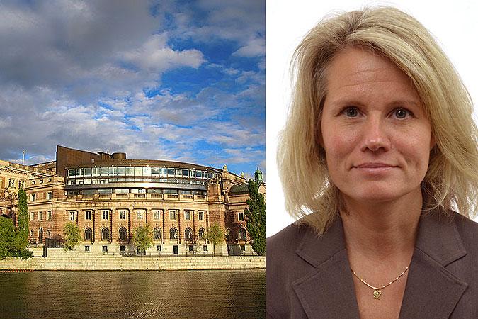 Kollage: Bild på riksdagshuset och ett porträtt på Oia Steensland (KD)