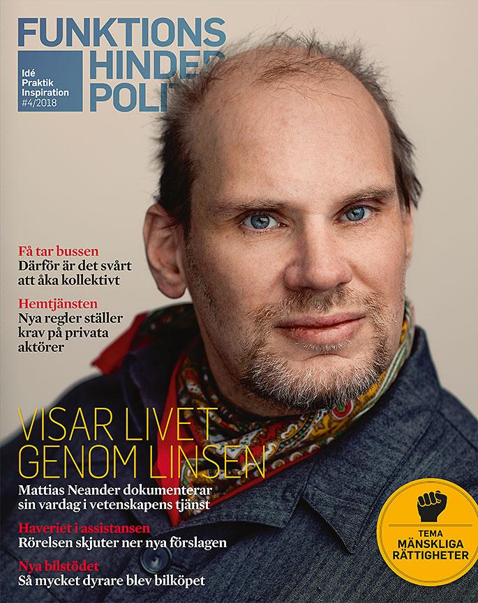 Omslaget till Funktionshinderpolitik 4. Ett porträtt av en man som möter vår blick.