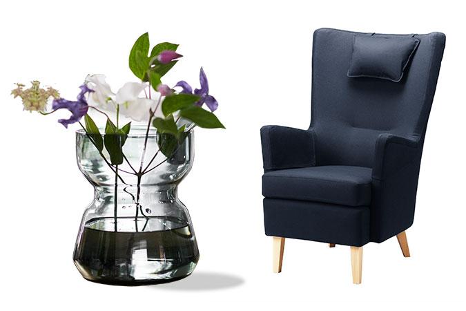 Ett kollage med två exempel på universell utformning: En greppvänlig vas med blommor och en fåtölj med högt ryggstöd.