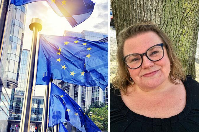 Montage av en bild på EU-flaggor framför Europaparlamentet och en bild på Maria Johansson framför en trädstam.
