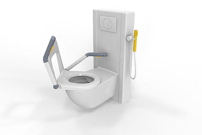 En illustration av hur den vridbara toaletten ska se ut.