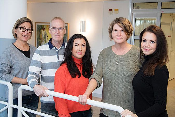 Bild på de fem personer som ingår i Prio-teamet i Umeå.