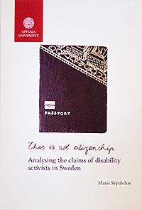 Omslaget till avhandlingen This is not citizenship är vitt med en tecknad bild av ett pass I mitten.
