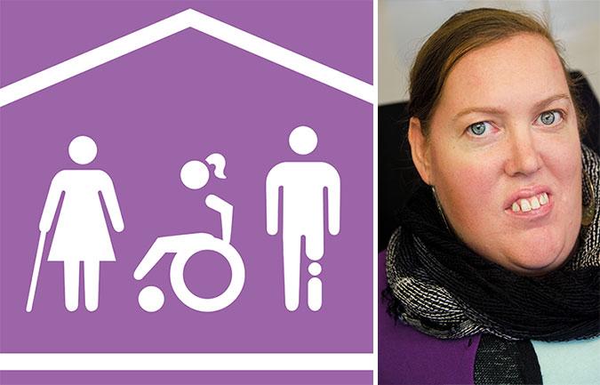 Kollage av en av ikonerna som texten handlar om och en bild på Karolina Celinska. PÅ ikonen ser man tre stiliserade personer. En med käpp, en i rullstol och en med protes. De befinner sig under ett tak.