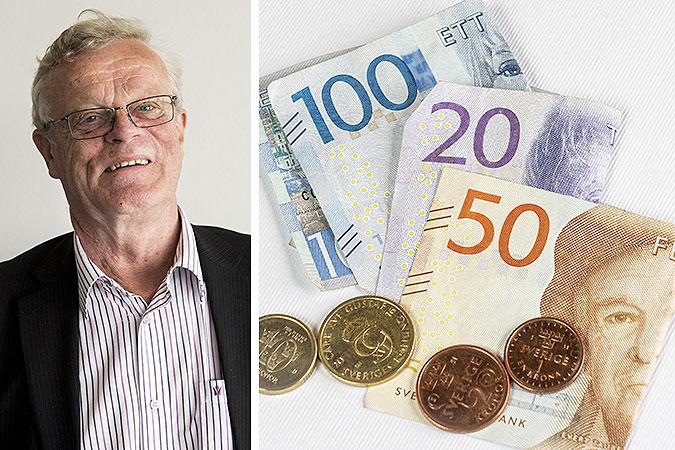 Kollage av två bilder. En påk Björn Eriksson och en på en hög med sedlar och mynt.