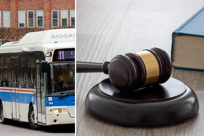 Kollage av två bilder. Den ena föreställer en buss i stadstrafik. Den andra en ordförandeklubba och en bok.
