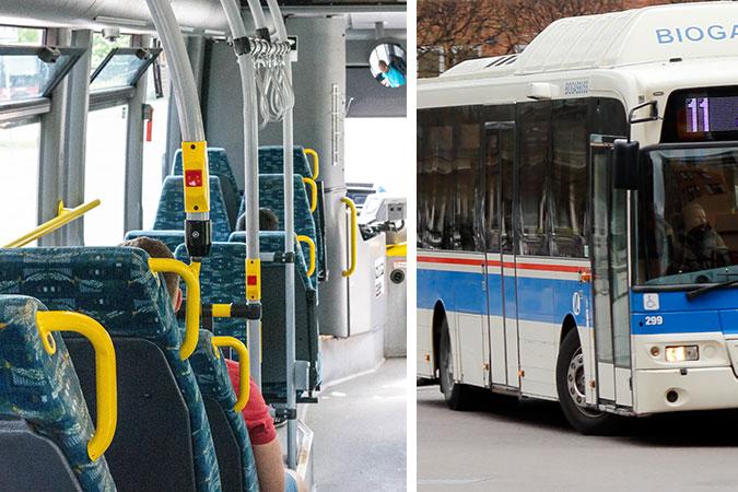 ett kollage av två bilder. En visar en interiör i en buss. Den andra visar utsidan av en buss där det finns en rullstolssymbol.