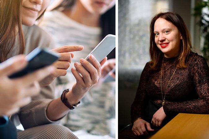 Ett kollage av två bilder. En visar några unga människor som tittar på sina telefoner. Den andra är ett porträtt av Hanna Öfors som sitter vid ett bord.