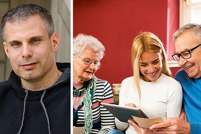 Kollage av två bilder. Den ena är ett porträtt av Rasmus Isaksson. Den andra föreställer en yngre kvinna som visar något på en surfplatta för en äldre kvinna och en äldre man.