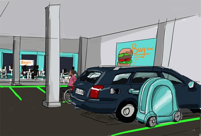 En illustration som föreställer ett parkeringsgarage. En bil står parkerad och bredvid den står en liten vagn som ska föreställa en robotiserad billaddare.