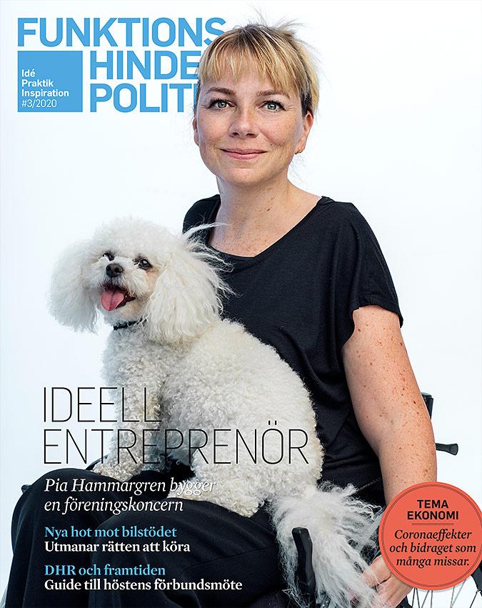 Omslaget till Funktionshinderpolitik 3. En kvinna sitter i en manuell rullstol. I knät har hon en liten luddig hund. Huvudrubriken är Ideell entreprenör.