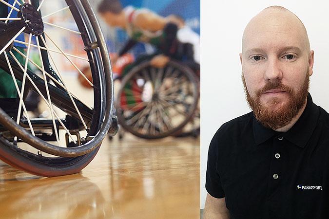 Kollage av två bilder. PÅ den ena spelar några personer rullstolsbasket. Den andra är ett porträtt av Calle Delling som är den som berättar om hur man kan hitta idrott via den nya sajten.