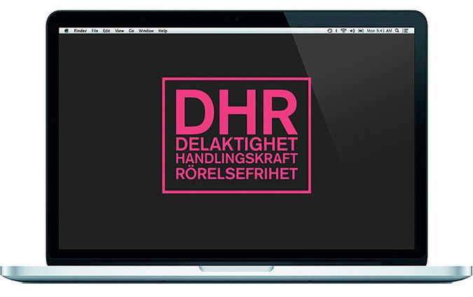 En laptop-dator med DHRs logotyp på skärmen